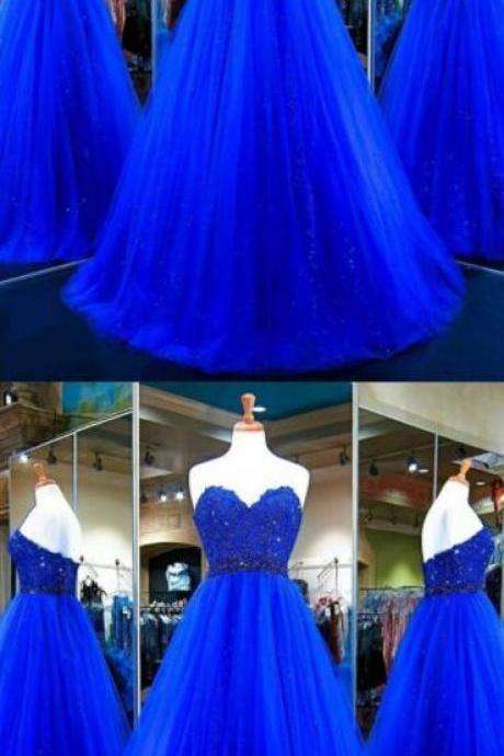 Long Prom Dress,Lace prom Dress,Tulle Prom Dress,Sexy prom Dress,Tulle Ball Gowns,Royal Blue Evening Dress,Sweetheart Prom Gowns,Elegant Prom Dress