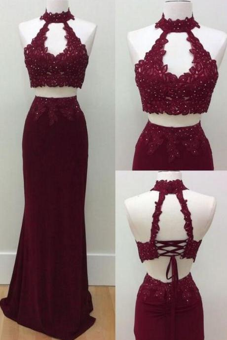 Sleeveless Beaded Prom Dress,Sexy Two Piece Prom Dress, Lace Prom Dress,Burgundy Prom Dress, Long Prom Dresses, Homecoming Dress