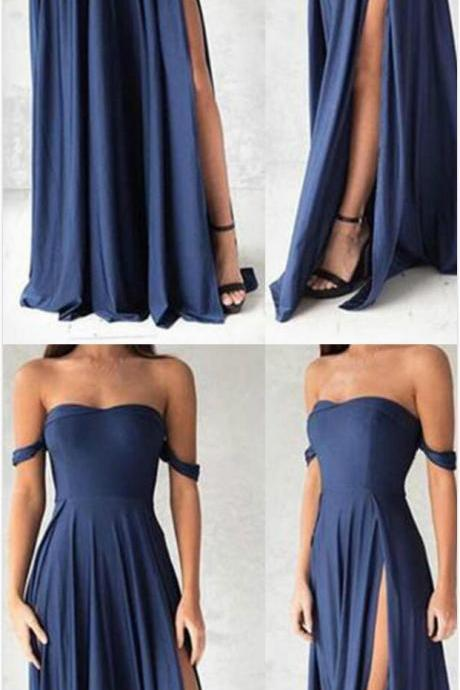 Sexy off-shoulder Prom Dress,Blue chiffon Prom Dress,Cheap Prom Dress,sweetheart prom dress,A-line long prom dress,simple evening dress