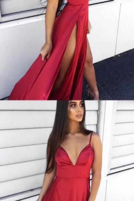 Spaghetti Straps Sweep Train Prom Dress,Sexy Prom Dress,Cheap Prom Dress,A-Line Prom Dress,Red Prom Dress with Split
