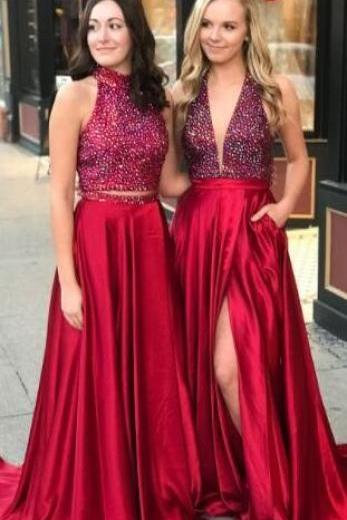 gorgeous red Prom Dress,Sexy Prom Dress,long prom dresses with side slit ,red prom dresses, long prom dresses, 2018 prom dresses