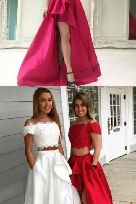 Two Piece Prom Dress,Stain prom Dress,Sexy Lace Prom Dress,Off-the-Shoulder Short Sleeves Prom Dress,White Prom Dress with Lace Pockets