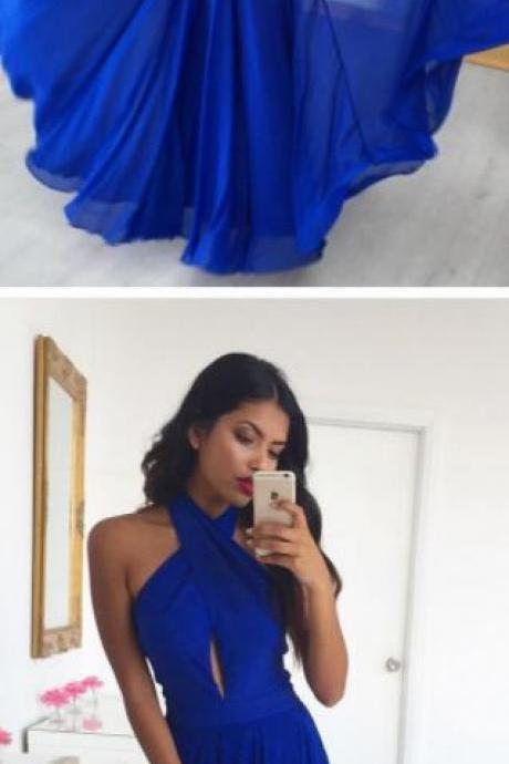 A Line Prom Gown,Chiffon Prom Dress,Simple Prom Dresses,Halter Prom Dress,Long Prom Dress,Royal Blue Prom Dresses,Cheap Prom Dress