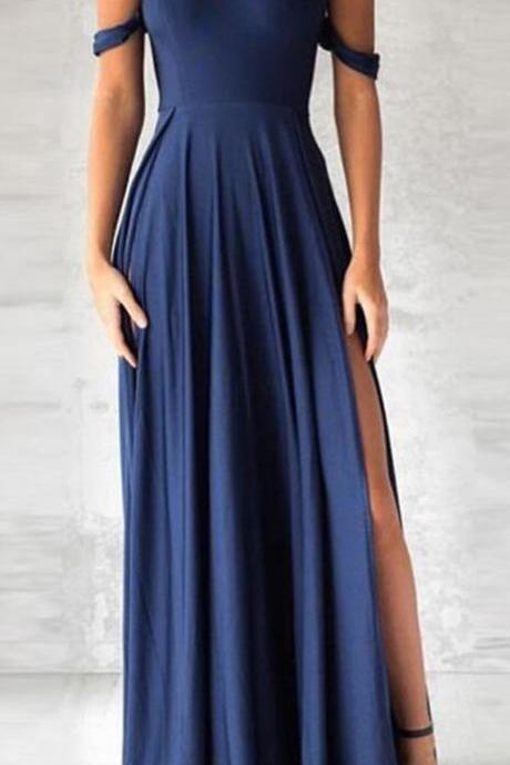 fashion off the shoulder Prom Dress,elegant navy blue prom dress, Sexy Prom Dress,Long party dress with split