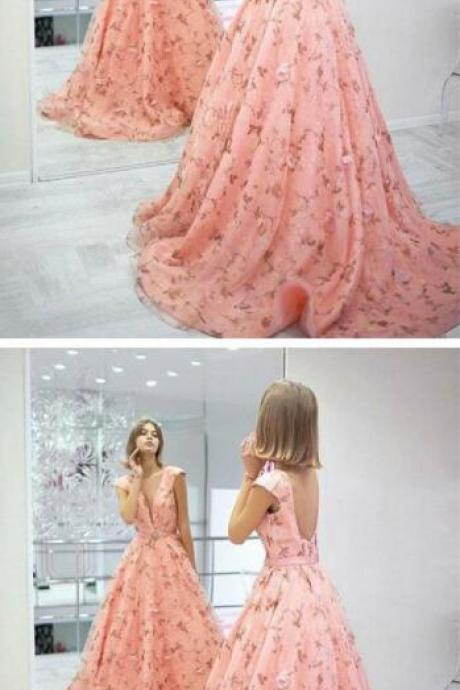 Stylish pink floral pattern prom dress,sexy prom dress,cheap prom dress,long prom dress, backless prom dress,A-Line evening dress