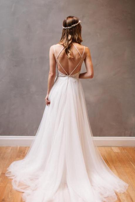 Beautiful Backless Wedding Dresses , Lace Wedding Dress,Cheap Wedding Dress,Mermaid Tulle Wedding Dress, Wedding Dress, A-line Wedding Dress