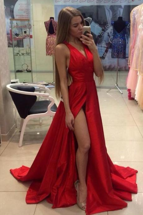 Satin A-Line Prom Dress,Simple Prom Dress,Long Red Prom Dresses ,V-Neck Sleeveless Prom Dress,Off The Shoulder Sweep Train Prom Party Dress Formal Gowns