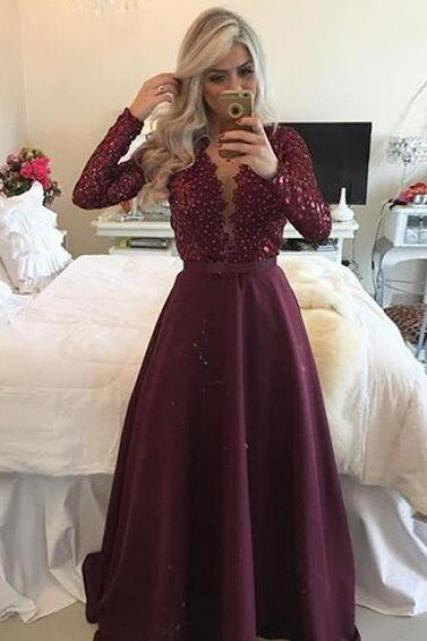 Sexy Evening Dress,A Line Prom Dress,Long Sleeve Prom Dress, Cheap Dresses,Formal Gown,Beaded Pearls Prom Dresses,Formal Dress