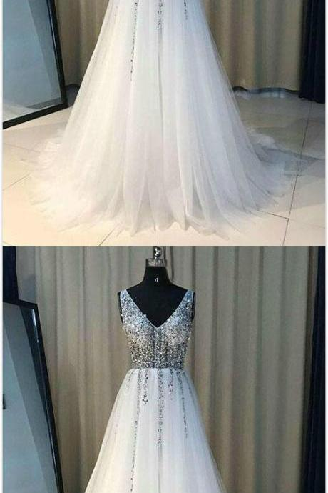 Sexy Tulle Prom Dress,Beading Prom Dress,A Line Prom Dress,Beading Prom Dress,V Neck Crystal White Prom Dress