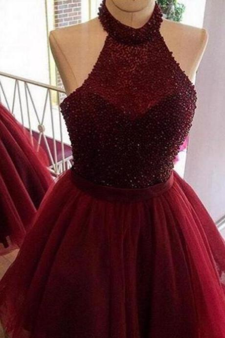 halter party dresses,Burgundy homecoming dress,a line homecoming dress,beading short prom dress,women homecoming dress