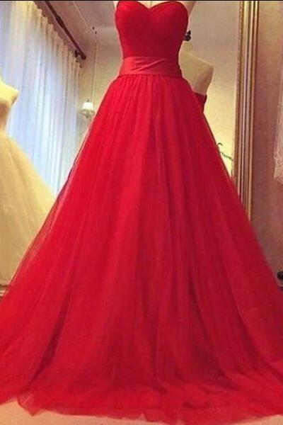 Red Prom Dress,Chiffon Prom Dress,A-line sweetheart Prom Dress,Simple Prom Dress,tulle long prom dress,evening dress,formal gown