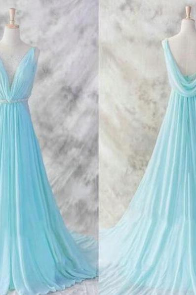 Chiffon Floor-length Prom Dress,Simple Prom Dress,Prom Dress 2018,cheap prom dress, Evening Dress