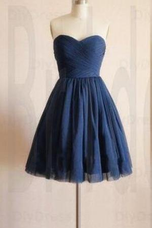 Cute Homecoming Dress,Navy Blue Prom Dress,Chiffon Prom Dress,Short Tulle Prom Dresses