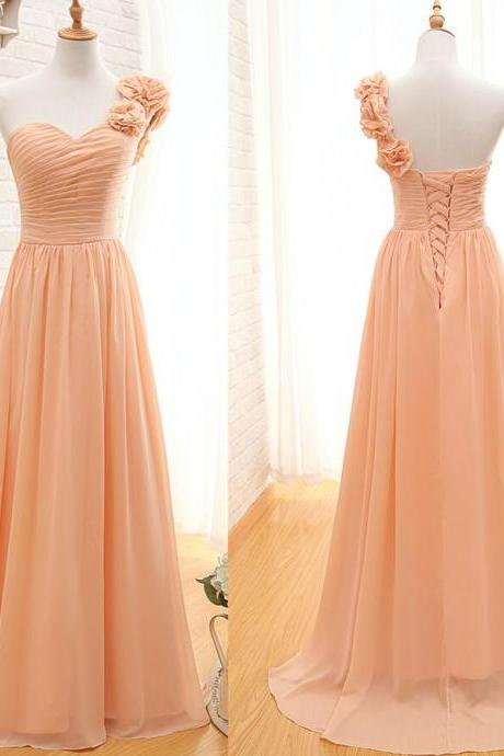 Chiffon Bridesmaid Dress,One Shoulder Bridesmaid Gown,Pretty Bridesmaid Dresses,,Simple Bridesmaid Dress,Cheap Evening Dresses,Fall Wedding Gowns, Beautiful Bridesmaid Gowns