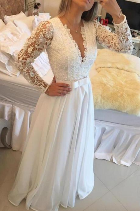 Elegant Long Sleeve Prom Dress,Lace Prom Dress,Sexy prom Dress,A Line Evening Dresses Lace Floor Length Sexy V Neck See Through Back White Custom Made Prom Dress