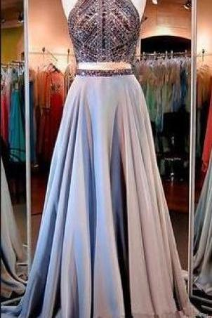 Two Piece Prom Dresses,Sexy Prom Dress,Cheap Prom Dress,Evening Gowns,2 Pieces Party Dresses,Evening Gowns,Sparkle Formal Dress For Teens