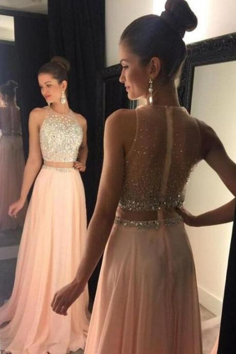 Two Piece Prom Dresses,Sexy Prom Dresses,Beading Prom Dress,Cheap Prom Dress,New Style Prom Gown,Prom Dress