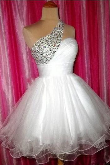 One Shoulder Homecoming Dress,Tulle Homecoming Dresses,Short Prom Dress,Sweet 16 Dress, Homecoming Gowns