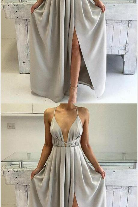 Split Prom Dress,Cheap Prom Dress,Simple Prom Dress,Chiffon Prom Dress,Long Prom Dresses,Formal Gown,Slit Evening Gowns For Teens