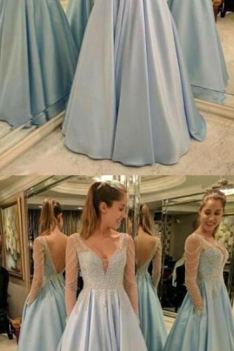 Sexy Prom Dress,Long Prom Dress,V-Neck Prom Dress,Aline Prom Dresses,Sexy Evening Dress Prom Gowns, Formal Women Dress
