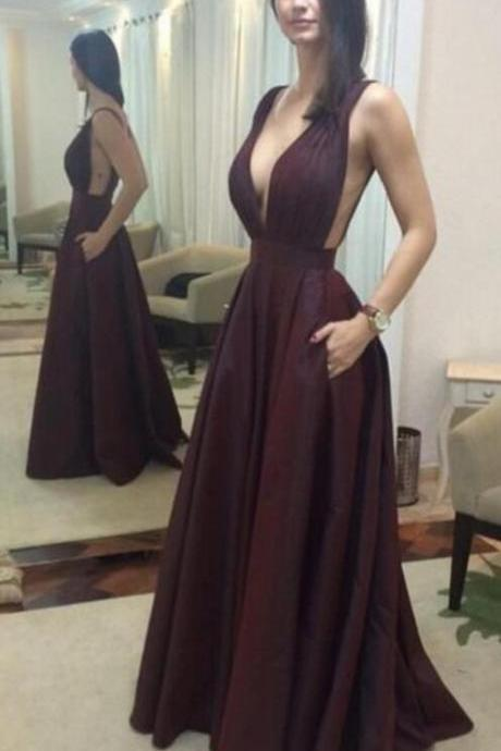 Burgundy Prom Dresses, Cheap Prom Dress,Sexy Prom Dress,Backless Prom Dress,Deep V-neck Evening Dress
