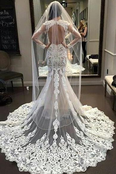 Lace Prom Dress,Mermaid Wedding Dresses,Bride Gowns Vintage Robe De Mariage Wedding Dress