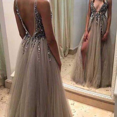 Sexy tulle prom dresses, Deep V-neck prom dresses, Backless Rhinestone prom dress, Tulle prom dress online, Long prom dress, Prom Dress