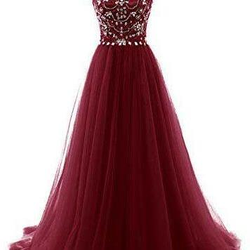 Wine Red Evening Gowns,Burgundy Prom Dresses,Beading Prom Dresses,Long Prom Dresses,Sexy Evening Gown,Prom Dress