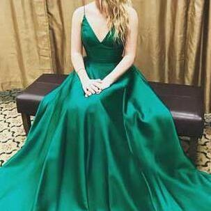 Charming V-Neck Dark Green prom dress, Spaghetti Straps prom dress,Charming prom dress, long prom dress,Sexy Evening dresses, elegant prom dress, prom dress