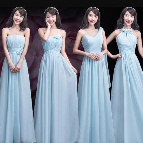 Chiffon Bridesmaid Dresses,Elegant Sky Blue Bridesmaid Dress, Custom Made Ruffles Long Bridesmaid Dress Mismatch Maid of Honor Dress Girls Group Dresses,One Shoulder Cheap Bridesmaid Dresses,Off the Shoulder Bridesmaid Gowns