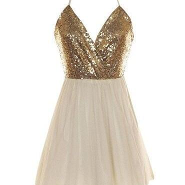 Sexy Gold Sequin Homecoming Dresses,Short Bridesmaid Dresses,Halter Backless Bridesmaid Dress,Open Back Cheap Bridesmaid Gowns,V Neck Short Prom Dresses,Homecoming Dresses,Cocktail Dress