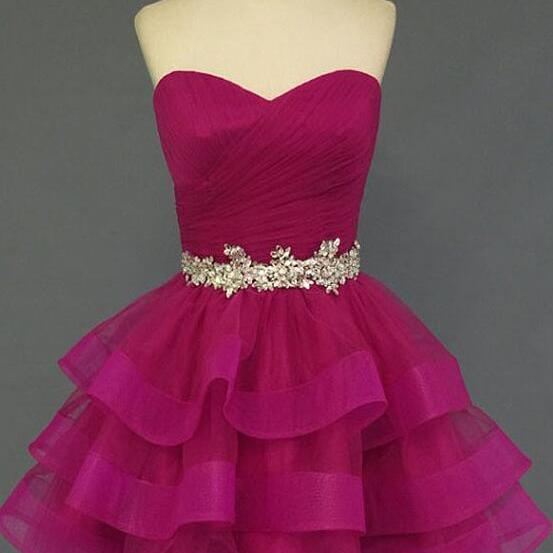 Organza Sweetheart Neckline Prom Dress,Short Prom Dress Homecoming Dresses,Beadings Belt Tiered Wedding Party Gown, Rose Red Layers Homecoming Dress