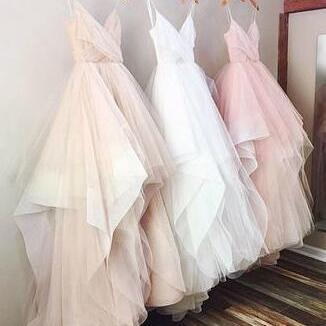 Gorgeous Tulle Prom Dress, Sexy A-line V-neck Wedding Dress Spaghetti Straps Wedding Dresses, Long Wedding Dress,Ball Gown Wedding Dress,Pink Wedding Dress,White Wedding Dress,Champagne Wedding Dress