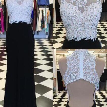 Backless Prom Dresses,Black and White Prom Dress,Sexy Prom Dress, Lace Mermaid Prom Dress,Long Evening Dresses,Lace Evening Dress,Black Party Dresses
