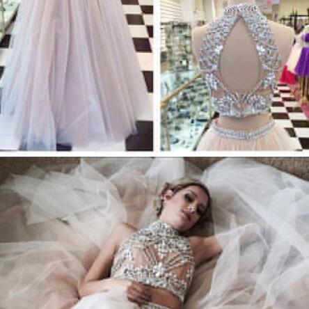 Two Piece Prom Dresses,Beading Prom Dress,Sexy A line Prom Dresses,Tulle Prom Dress with Beads,Pretty High Neck Prom Dresses,2 pieces Evening Dresses