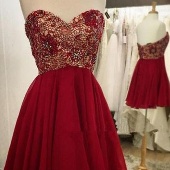 Sequined Homecoming Dress,Chiffon Homecoming Gown,Sweetheart Homecoming Dress,Red Homecoming Dresses,Short Prom Dresses,Graduation Dresses,A Line Homecoming Dress
