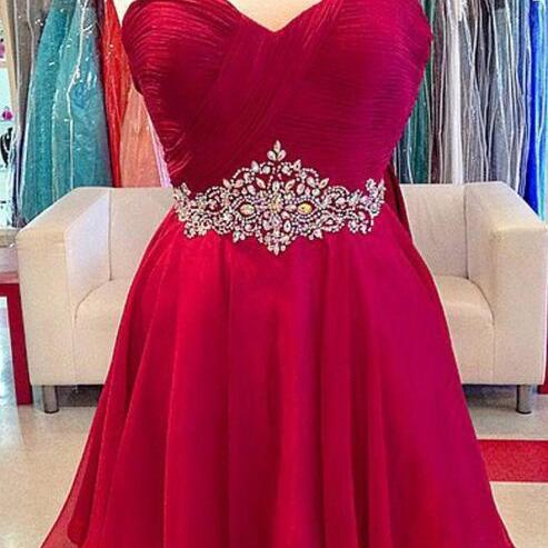 Sweetheart Homecoming Dresses,Sexy Red Homecoming Dress,Chiffon Homecoming Dresses,Short Homecoming Dresses,Beading Homecoming Dresses,Red Cocktail Dresses,Girls Party Dress