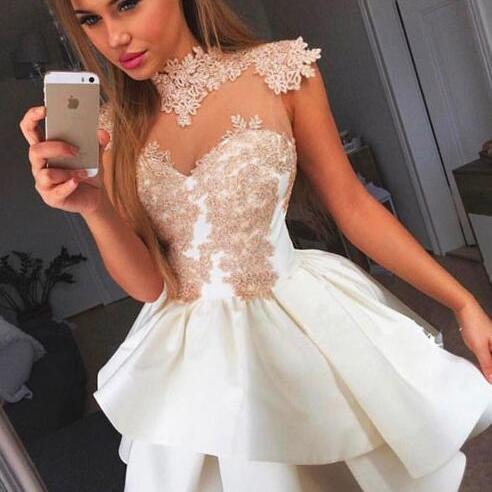High Neck Homecoming Dress,Sexy homecoming Dress,Short Homecoming Dress,Cute Homecoming Dresses,White Homecoming Dresses,Lace Homecoming Dresses,Short Prom Dress,Appliques Prom Dresses