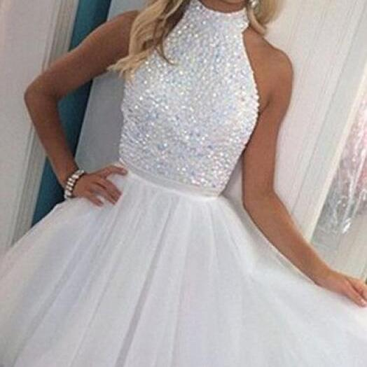 Tulle Homecoming Dresses,White Beading Homecoming Dresses,Sexy Homecoming Dress,White Party Dresses,Open Back Prom Dresses,Graduation Dress,Short Homecoming Dress