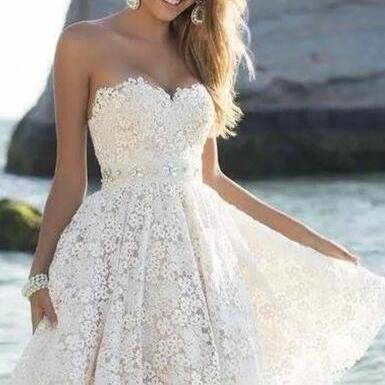 Lace Homecoming Dress,Cheap Prom Dress, Short Graduation Dress,Lace Graduation Dress,Sweetheart Graduation Dress,Dress For Graduation,White Homecoming Dress ,Short Homecoming Dress