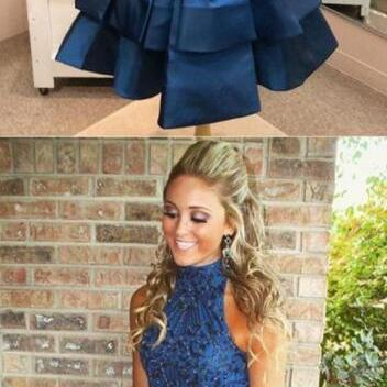 A-line Homecoming Dress,High Neck Navy Blue Homecoming Dress,Cheap Homecoming Dress,Beading Homecoming Dress