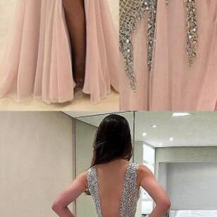 V neck Beading Prom Dress, champagne prom party dresses,Chiffon Prom Dress, sexy backless evening gowns, cheap deep v-neck evening gowns
