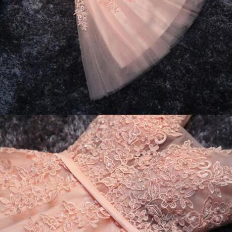 Lace Appliqued Homecoming Dress,Tulle Homecoming Dress,Short Homecoming Dress,Blush Pink Short Bridesmaid Dresses,Short Prom Dress,Sweet 16 Cocktail Dress,Homecoming Dress