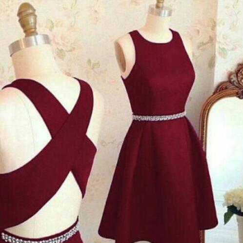 Short A line homecoming dress,burgundy homecoming dress,Cheap homecoming dresses ,2018 homecoming Dress, cross back short party dress,cocktail dresses