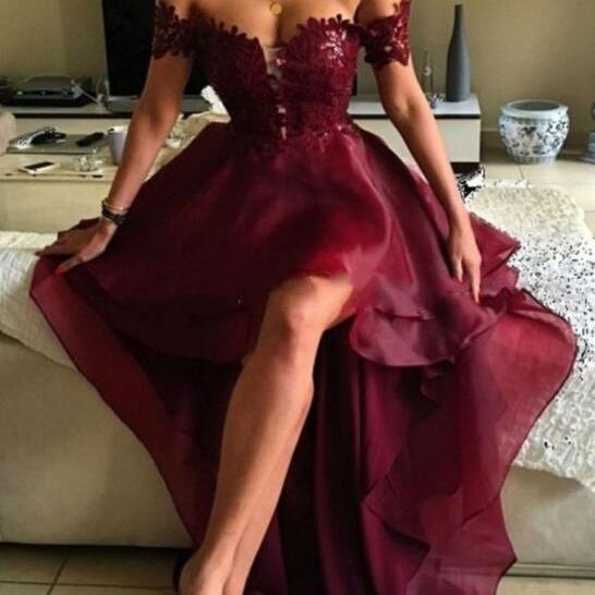 Organza Fashion Prom Dress,Off the Shoulder Prom Dress,Sexy Prom Dress,High Low Burgundy Backless Prom Dress with Lace, Formal Evening Dresses