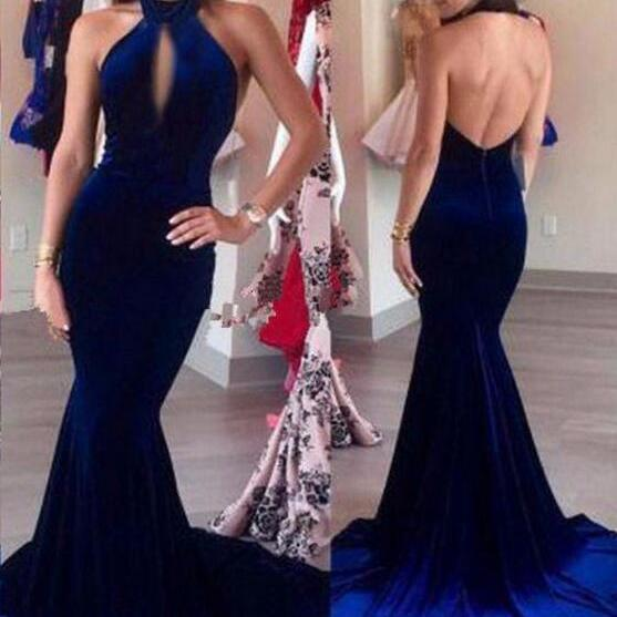 Chiffon prom Dress,Mermaid long prom dress, Sexy prom dress, royal blue evening dresses
