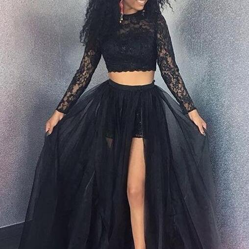Long Sleeve Prom Dresses,Two Pieces Prom Dress,Lace Prom Dress,Cheap Prom Dress,A-Line Prom Dress, Long Prom Dresses,Evening Dress Prom Gowns, Formal Women Dress,Prom Dress