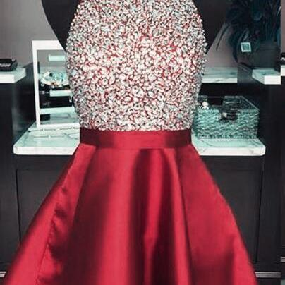 Burgundy Homecoming Dress,Sexy Prom Dress,Halter Beaded Prom Dress,Stain Prom Dress,Short Prom Dress, Sexy Cocktail Dresses, Junior's Homecoming Party Dresses