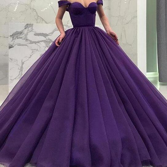 Off Shoulder Prom Dress,Long Party Dress,Ball Gown Prom Dresses, Tulle Evening Dresses, Sweet 16 Dresses