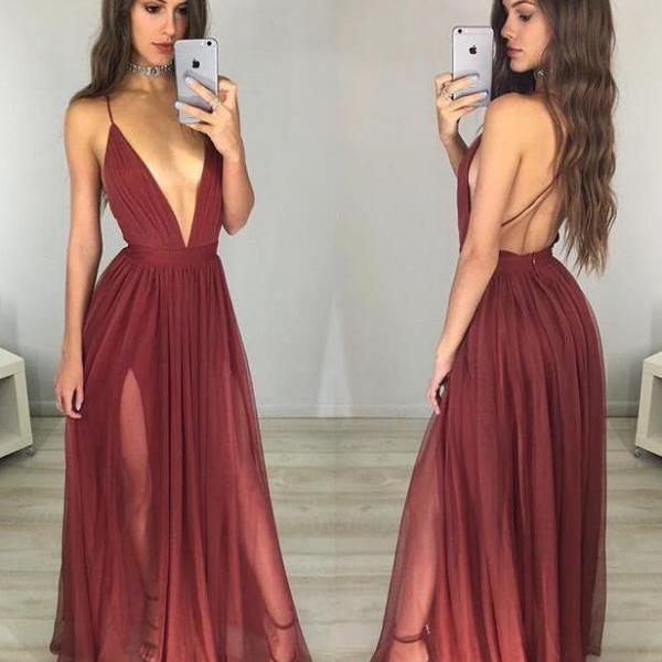 Simple Evening Dress ,Sexy Prom Dress,Cheap Prom Dress,V-neck Backless Prom Dress,Long Prom Dresses, Sexy Deep V Neck Prom Dress, Backless Long Sheath Party Dresses